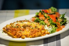 Lasagna: home made traditional veal and pork lasagne served with salad