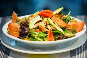 Chicken Salad: chicken, lettuce, tomato, avocado, capsicum, zucchini and Eggplant served with balsamic and olive oil dressing