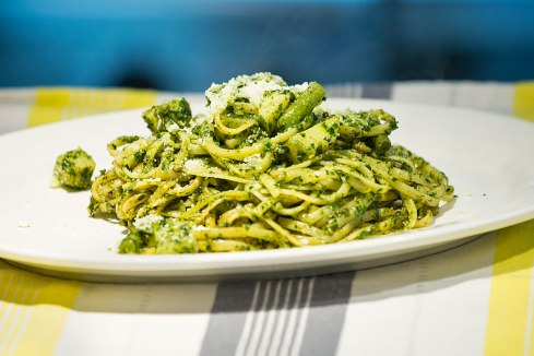 Linguine Pesto Genovese: home made traditional basil pesto served with boiled potato, Green beans and parmesan cheese