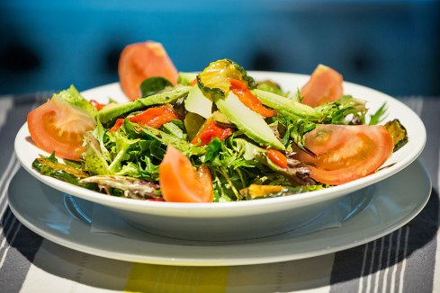 Vegetarian Salad: capsicum, zucchini, tomato, eggplant, avocado and lettuce Served with olive oil and balsamic dressing