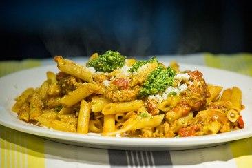 Penne Al Tonno: tuna, basil pesto and tomato salsa