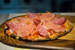 Pizza ai Salumi: tomato, mozzarella, ham, salami, pancetta and prosciutto